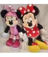 "Disney 2 Minnie Mouse Plush Stuffed Lot Dolls 9"" Disneyland Ships Free! - $16.92"