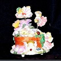 Ceramic Fairy Music Box 5 Fairies on a Floral Merry-Go-Round AA18-1139 Vintage image 3