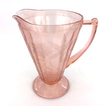 Jeanette Depression Glass Footed Pitcher Pink Poinsettia Lemonade Juice ... - $46.00