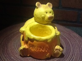 Handmade Bear (Pooh) with Hunny Bowl Ceramic Planter Vintage - $18.85