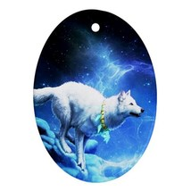 White Wolf In Blue Moon Night Animal (Oval) Orn... - $3.99