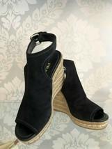 PRADA Black Suede Platform Ankle Strap Espadrille Wedges Sz 38/US 8 $690 - $259.28