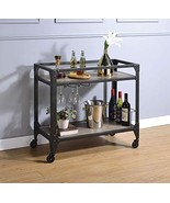 Acme Furniture Serving Cart in Rustic Oak and Charcoal - $399.19