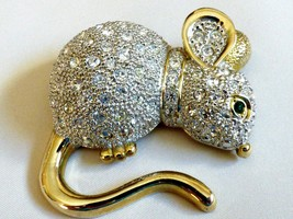 Huge Crystal Encrusted Rhinestones Gold Tone Mouse Pin Brooch - $51.48
