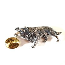 border collie Dog made in english Pewter Lapel Pin Badge, gift boxed
