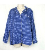 Victorias Secret Button Up Pajama PJ Top Women Size M Blue Polka Dot Lon... - $9.89