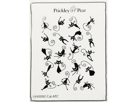 Prickley Pear CAT ATC Unmounted Rubber Stamp #HH0092 HALLOWEEN image 1