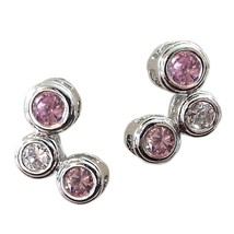 Pink Bubble Earrings Cubic Zirconia Sterling Silver Pierced Fashion e852sp - $13.99