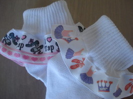 Tap Ballet Dance Ruffle Socks Toddler Girls Set  2 pair - $11.07