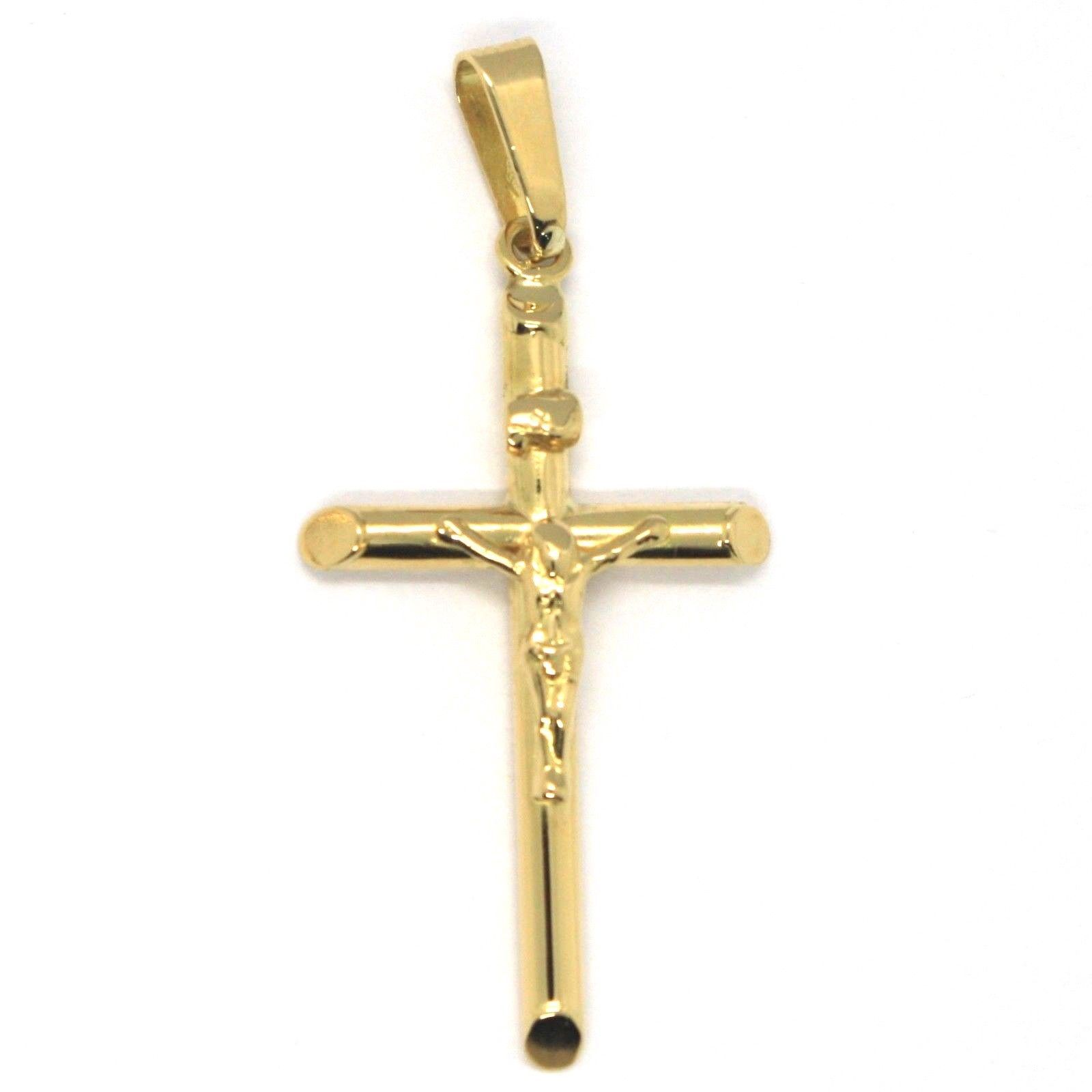 18K YELLOW GOLD BIG TUBE ROUND CROSS WITH JESUS MADE IN ITALY, 45 mm, 1.8 INCHES