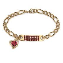 """PalmBeach Jewelry Birthstone I.D. & Heart Charm Bracelet in Yellow Gold Tone 7"""" - $25.94"""