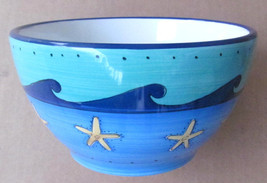 Brushes K.I.C. Hand Painted, Large Cereal Bowl Blue Green Ocean Seaside ... - $16.99