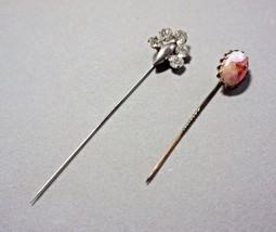 2 Vintage Hat Stick Pins Rhinestones Confetti Glass - $30.00