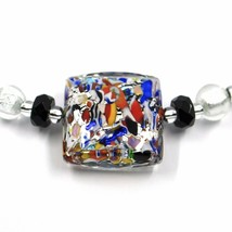 NECKLACE MACULATE MULTI COLOR MURANO GLASS BIG SQUARE, SILVER LEAF, ITALY MADE image 2
