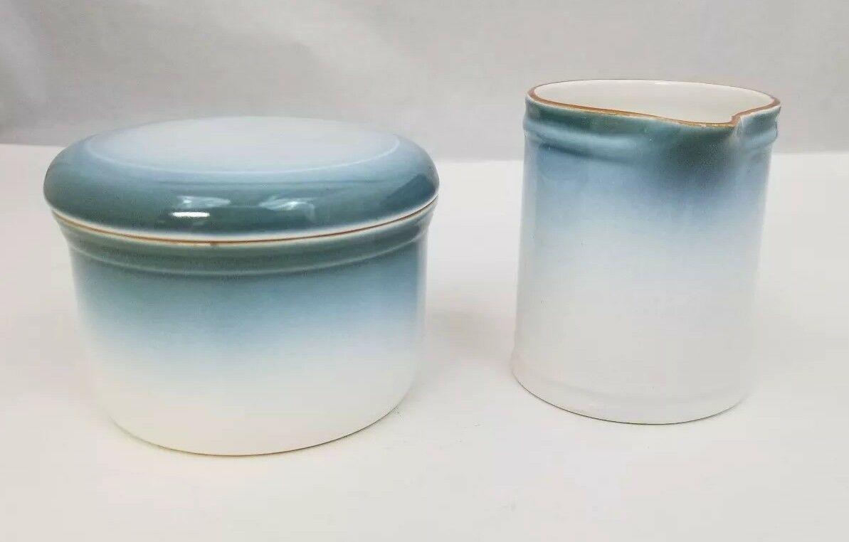 Nikko Gradiance Creamer and Sugar Bowl Azure Leafette Dishwasher Microwave Safe image 3