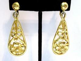 Tear Drop Shape Crown Trifari Long Clip On Earrings Open Work Flowers Gold Tone - $45.00