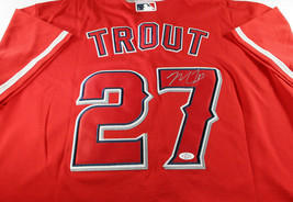MIKE TROUT / AUTOGRAPHED LOS ANGELES ANGELS RED PRO STYLE BASEBALL JERSEY / COA image 1