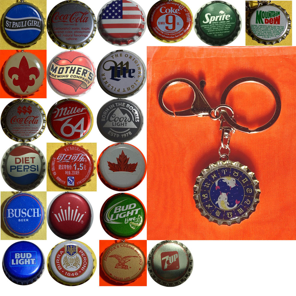 Constellation Pisces Fish icon Coke Sprite pepsi & more Soda beer cap Keychain