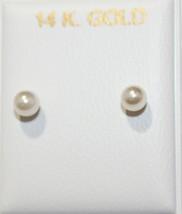 Perlas de Agua Dulce 3mm 14k Oro Amarillo Macizo de Rosca Pendientes - 3... - $23.31