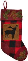 Glitzhome 19' Handmade Plaid Hooked Rug Reindeer Christmas Stocking - $11.36