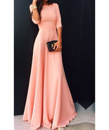 Maxi Dress - Three Quarter Length Sleeves Party Dress - $22.00
