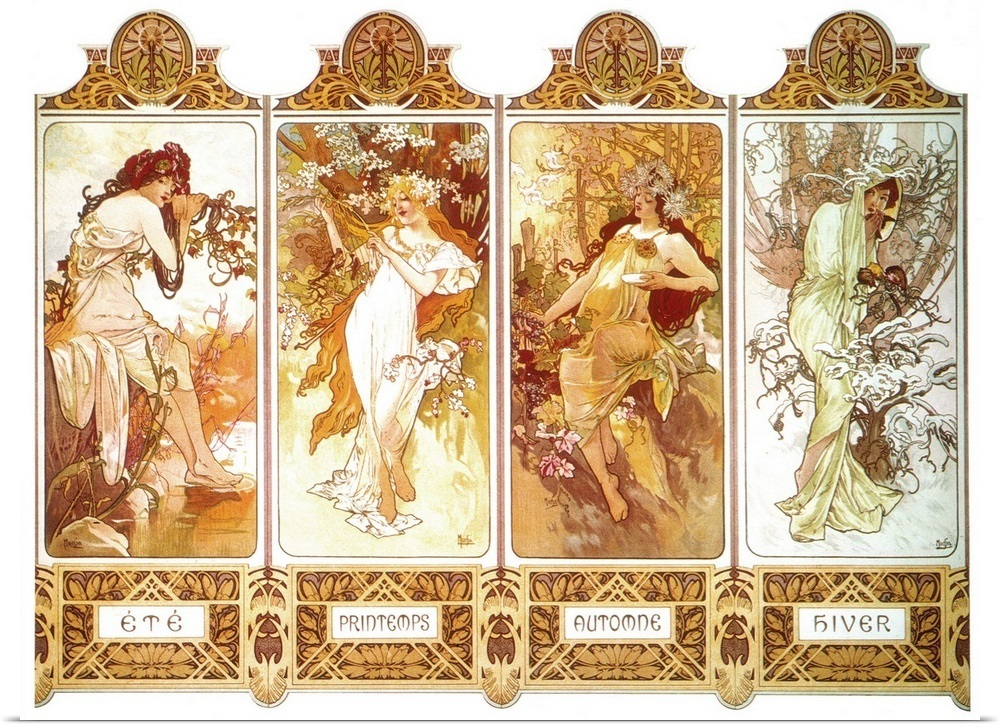 ALPHONSE MUCHA POSTER 24x36 IN THE FOUR SEASONS - HIVER PRINTEMPS ETE AUTOMNE