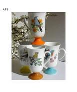 Cardinal Bird Spring Themes Pedestal Santei Japan Bird Coffee Tea 6 Cups... - $42.00