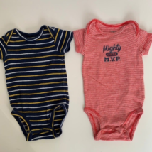 Carters Baby Bodysuits One Piece 3 Months Lot Of 2 Gray Blue Short Sleeves - $5.00
