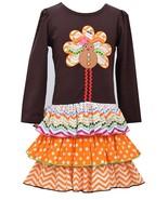 Bonnie Jean Little Girls 4-6X Brown/Orange Turkey L/S Tier Dress - $32.90