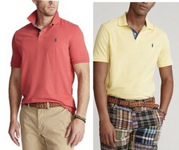 Polo Ralph Lauren Men's Classic Fit Jersey Polo Shirt Yellow & Red Size L - $38.50