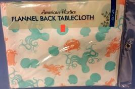 """FLANNEL BACK VINYL TABLECLOTH 52"""" x 70"""",(6-8 ppl) CRABS, LOBSTERS, SEA L... - $15.83"""