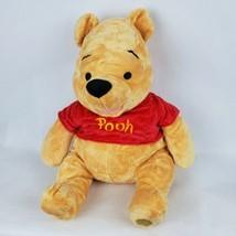 "Disney Store Winnie The Pooh 16"" Plush Bear Red Shirt Stuffed Animal - $15.71"