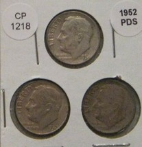 1952 P D and S Roosevelt Dimes CP1218 - $11.75