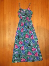 8H/LUSH Women's Size Small Long Maxi DRESS/SPAGHETTI STRAP/FLORAL/GREENS! - $18.76