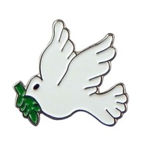 white dove of peace  Lapel /tie Pin Badge 3d effect with clip for rear of badge.