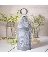 BAKER'S new weathered zinc finish punched tin candle lantern - $37.39