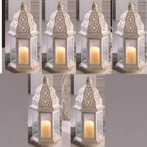 "Lot 10 Sublime 12"" White Distressed Lantern Candle Holder Wedding Center... - $136.62"