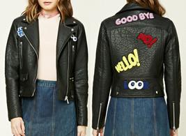 Graphic Patch Moto Biker Grunge 90s Leather Jacket Coat Blazer women's s... - $69.98