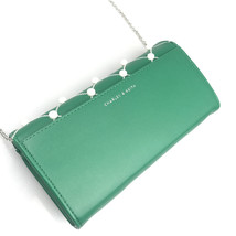 Charles & Keith Embellished Quilted Wallet Chain Clutch Small Shoulder Bag Green image 6