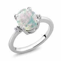Gem Stone King 2.16 Ct Oval Cabochon White Simulated Opal & White Diamon... - $48.99