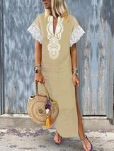 Women V-Neck Baggy Boho Split Hem Maxi Dress - £28.54 GBP