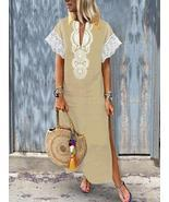 Women V-Neck Baggy Boho Split Hem Maxi Dress - $48.55 CAD