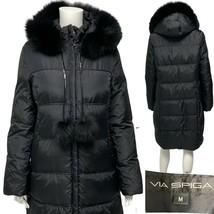 VIA SPIGA women's black down winter long coat jacket puffer hooded warm ... - $78.11