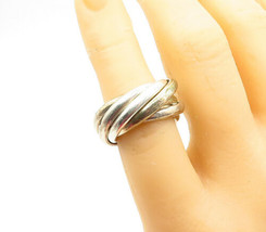 925 Sterling Silver - Vintage Shiny Smooth 7 Band Rolling Ring Sz 5 - R1... - $50.05