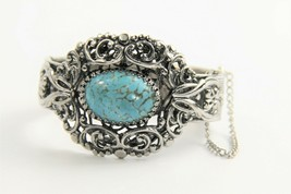 "7"" VINTAGE HIGH END ORNATE SILVER METAL & FX TURQUOISE HINGED BANGLE BRA... - $35.00"
