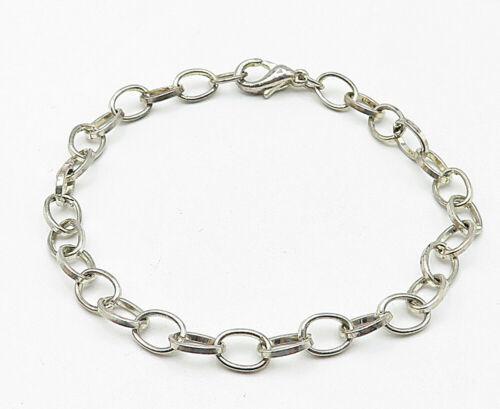 925 Sterling Silver - Vintage Petite Minimalist Rolo Link Chain Bracelet - B4828
