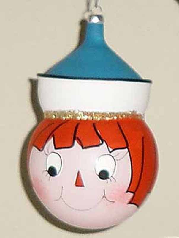 Primary image for RAGGEDY ANN/ANDY - Vintage Glass Christmas Ornament - ITALY  NOS