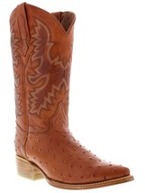mens cognac brown ostrich exotic western leather cowboy boots rodeo tan ... - £75.40 GBP