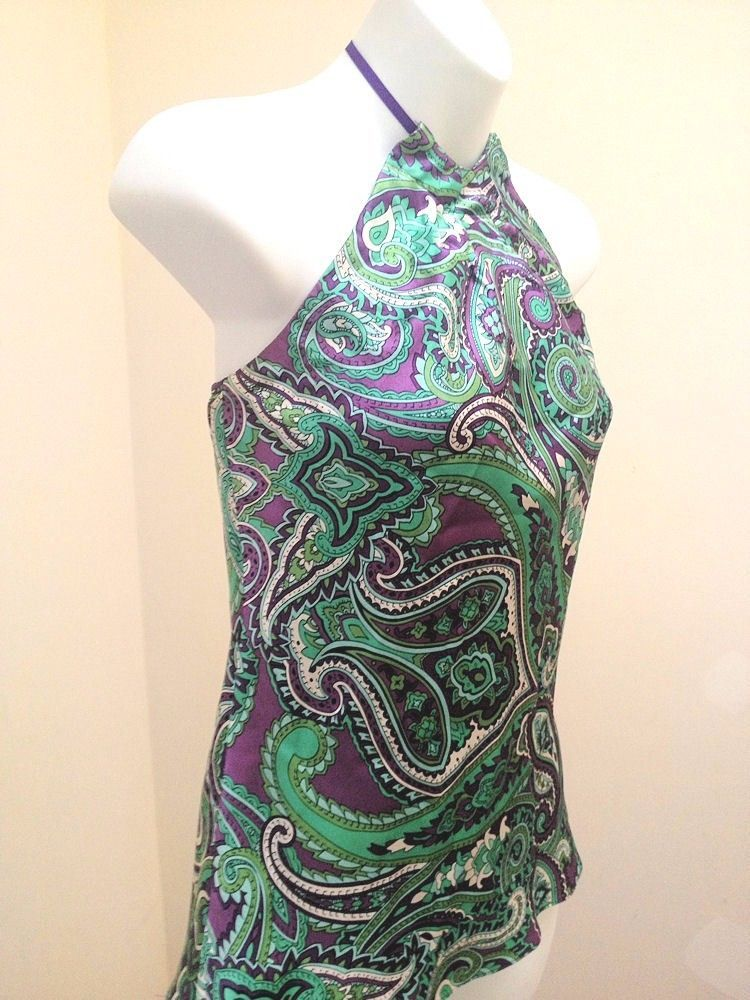 Inc 2P Halter Top Green Purple Paisley Silk Shirt Petite 2