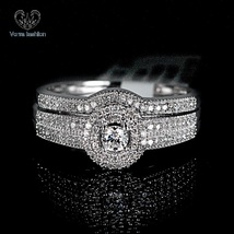 14K White Gold Plated 925 Silver Round Cut Diamond Wedding Band Bridal Ring Set - $116.99